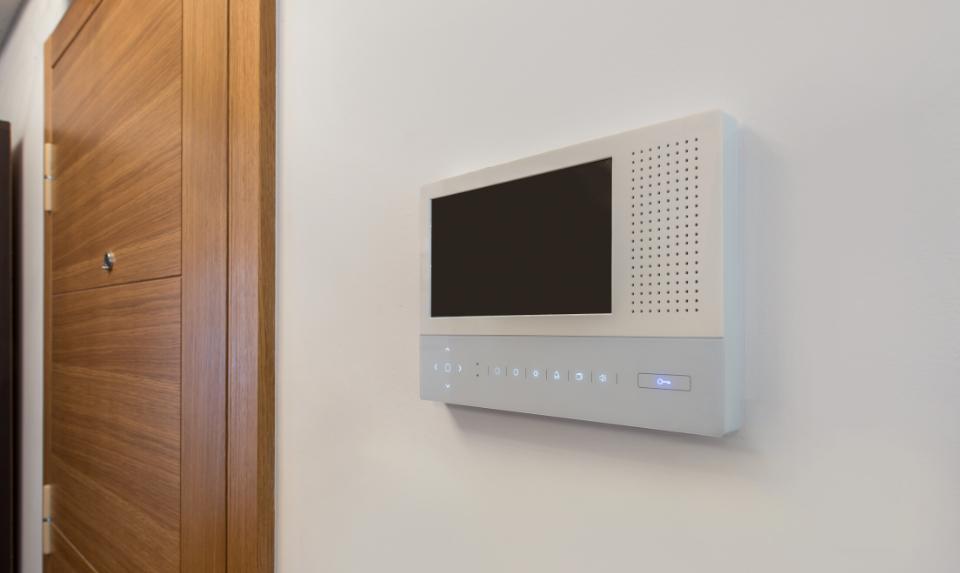 video doorbell installed in a home